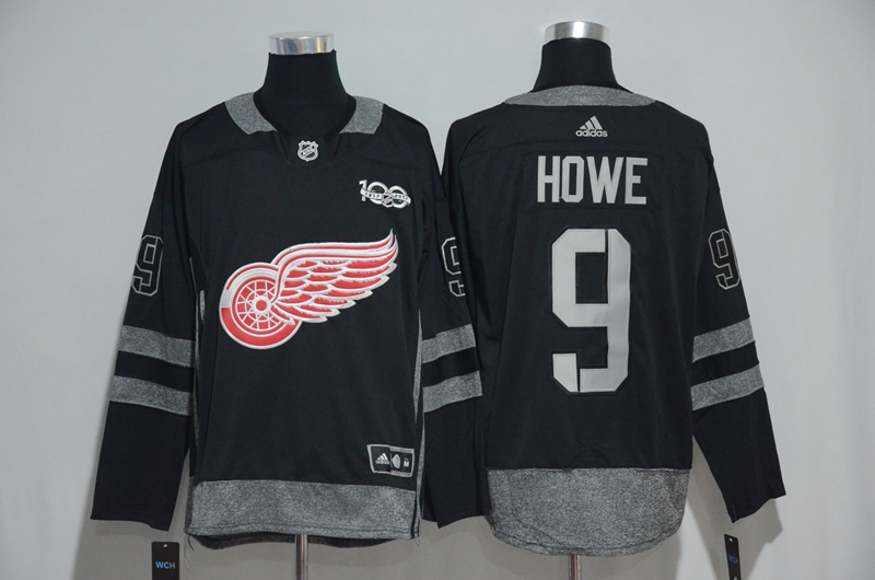 Red Wings 9 Gordie Howe Black 1917-2017 100th Anniversary Adidas Jersey