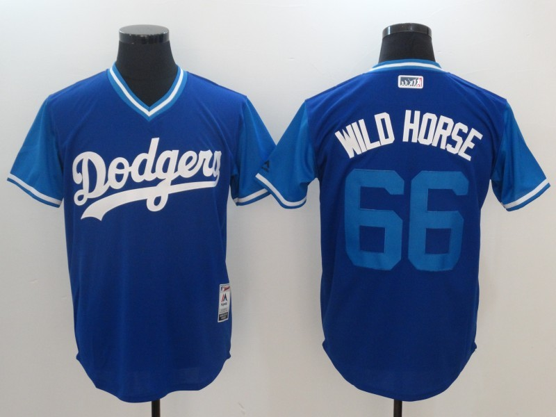 Dodgers 66 Yasiel Puig Wild Horse Majestic Royal 2017 Players Weekend Jersey