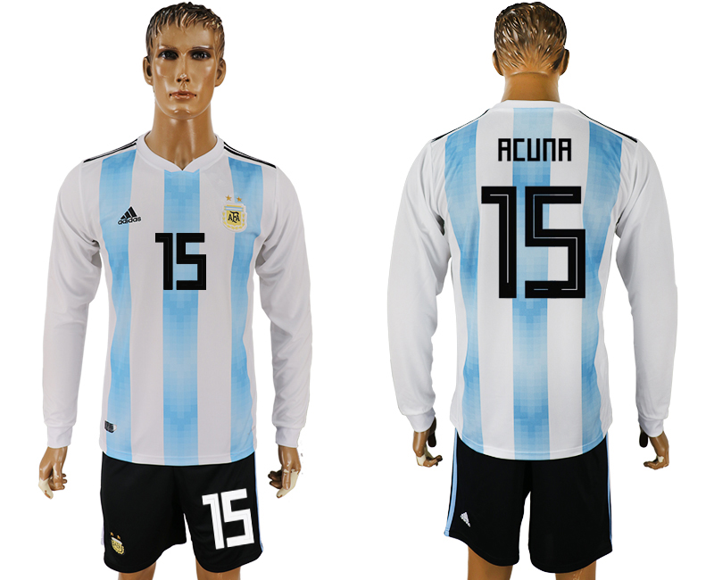 Argentina 15 ACUNA Home Long Sleeve 2018 FIFA World Cup Soccer Jersey