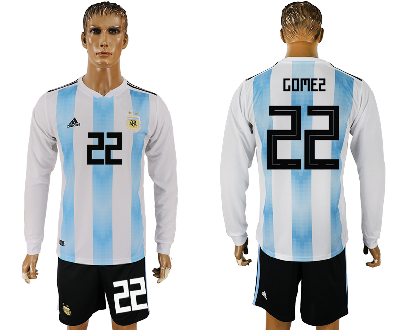 Argentina 22 GOMEZ Home Long Sleeve 2018 FIFA World Cup Soccer Jersey