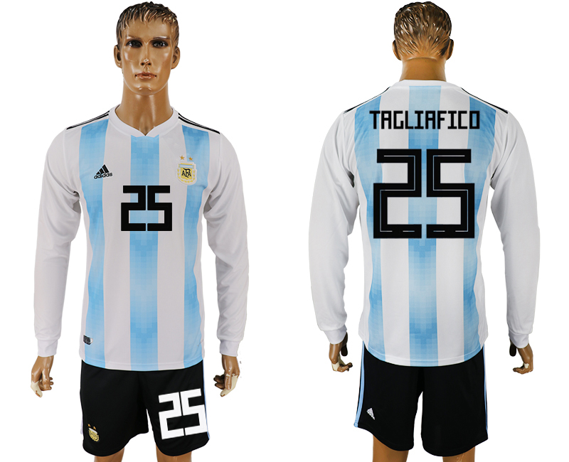 Argentina 25 TAGLIAFICO Home Long Sleeve 2018 FIFA World Cup Soccer Jersey