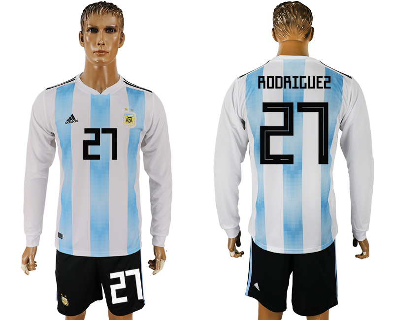 Argentina 27 RODRIGUEZ Home Long Sleeve 2018 FIFA World Cup Soccer Jersey