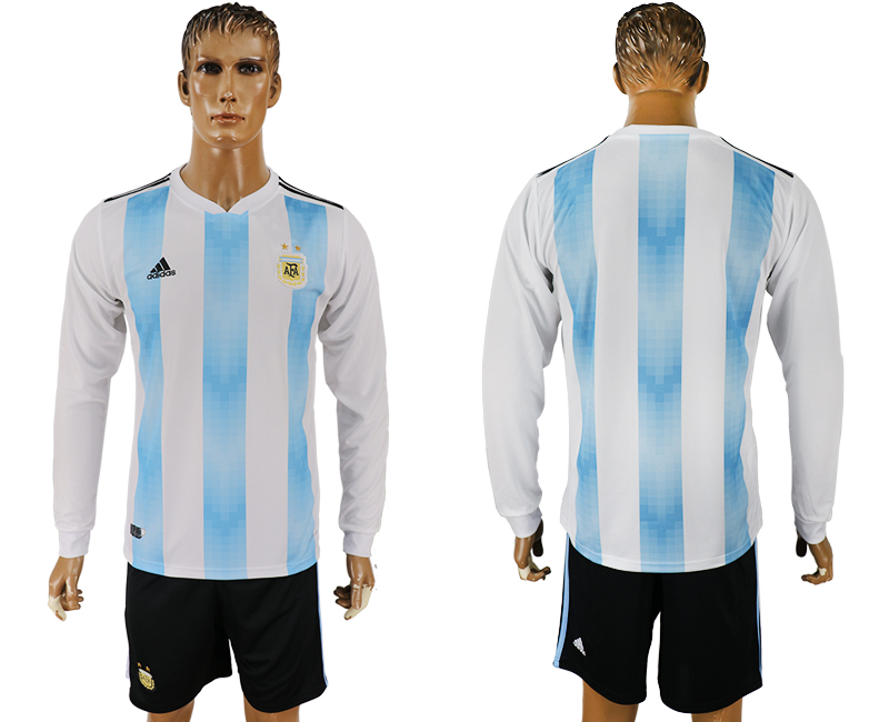 Argentina Home Long Sleeve 2018 FIFA World Cup Soccer Jersey