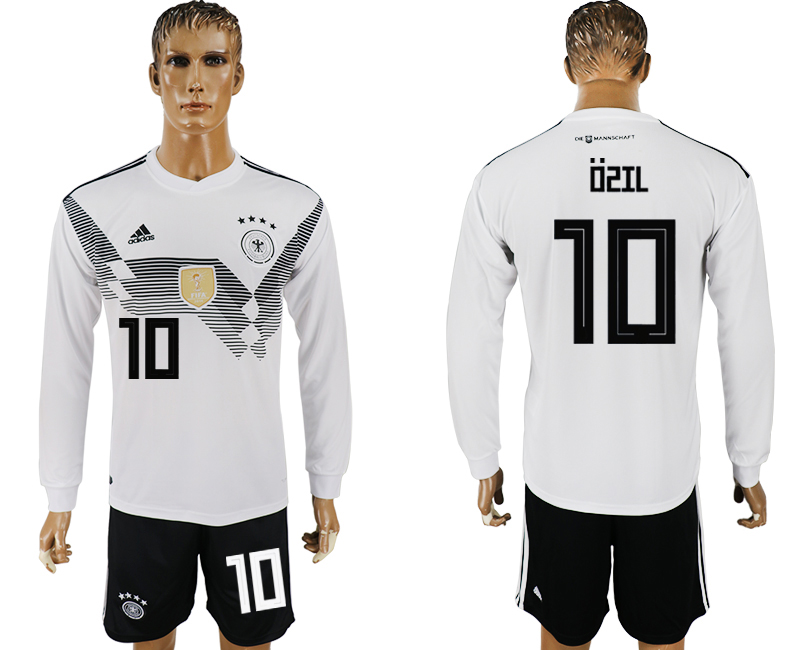 Germany 10 OZIL Home Long Sleeve 2018 FIFA World Cup Soccer Jersey