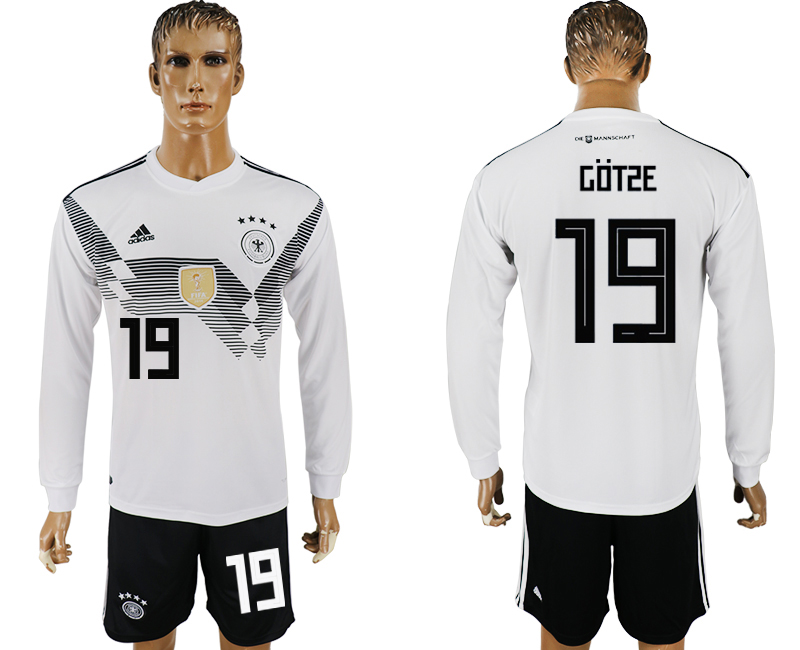 Germany 19 GOTZE Home Long Sleeve 2018 FIFA World Cup Soccer Jersey