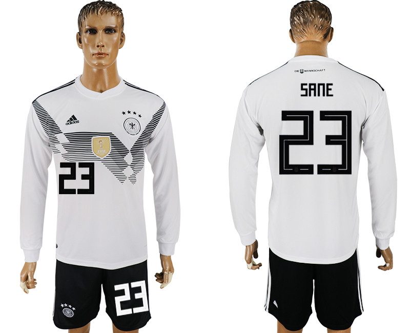 Germany 23 SANE Home Long Sleeve 2018 FIFA World Cup Soccer Jersey