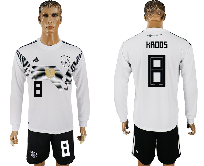 Germany 8 KROOS Home Long Sleeve 2018 FIFA World Cup Soccer Jersey