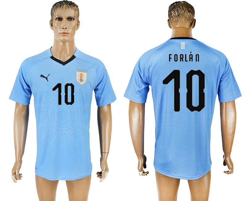 Uruguay 10 FORLAN Home 2018 FIFA World Cup Thailand Soccer Jersey