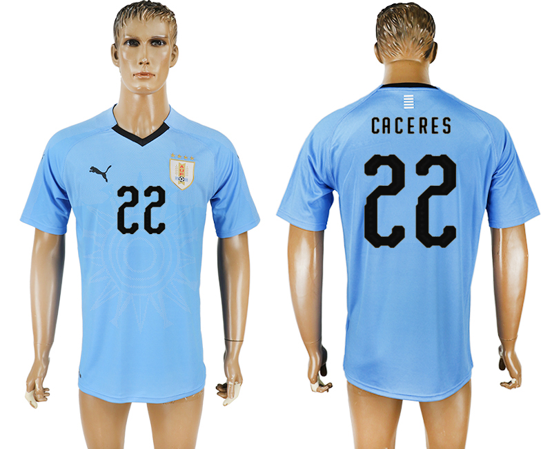 Uruguay 22 CACERES Home 2018 FIFA World Cup Thailand Soccer Jersey