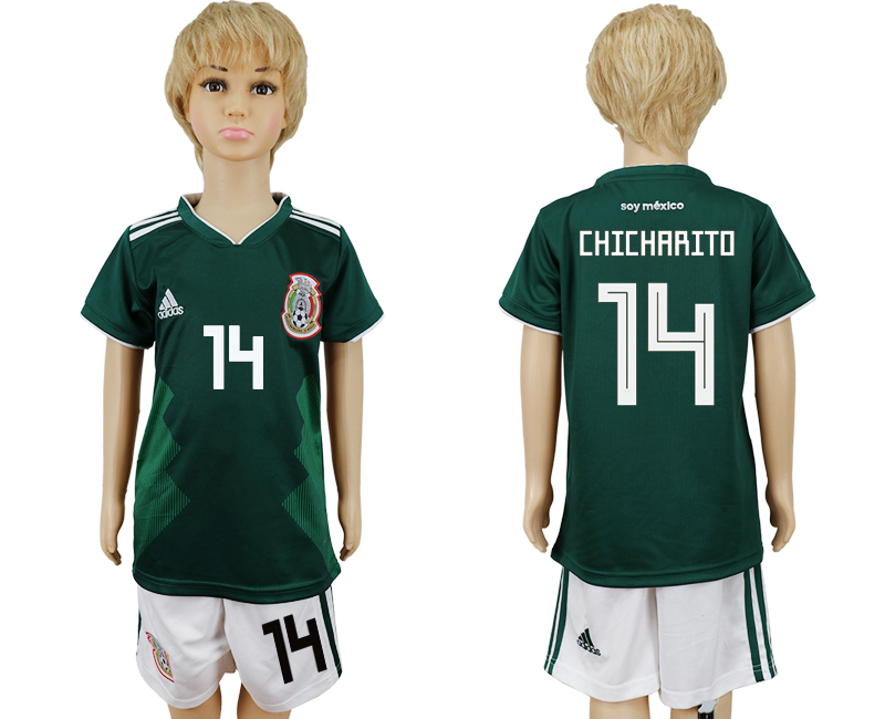Mexico 14 CHICHARITO Home Youth 2018 FIFA World Cup Soccer Jersey