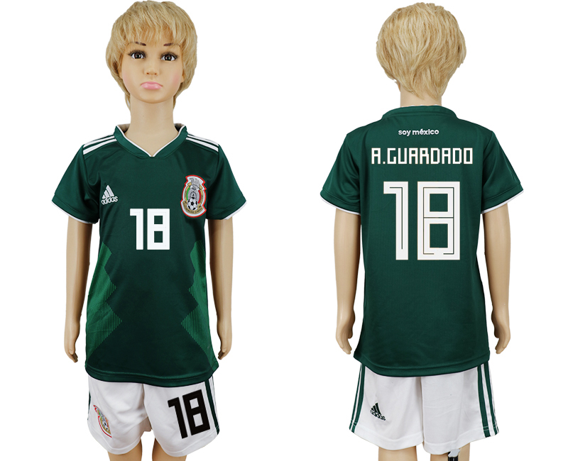 Mexico 18 A.GUARDADO Home Youth 2018 FIFA World Cup Soccer Jersey