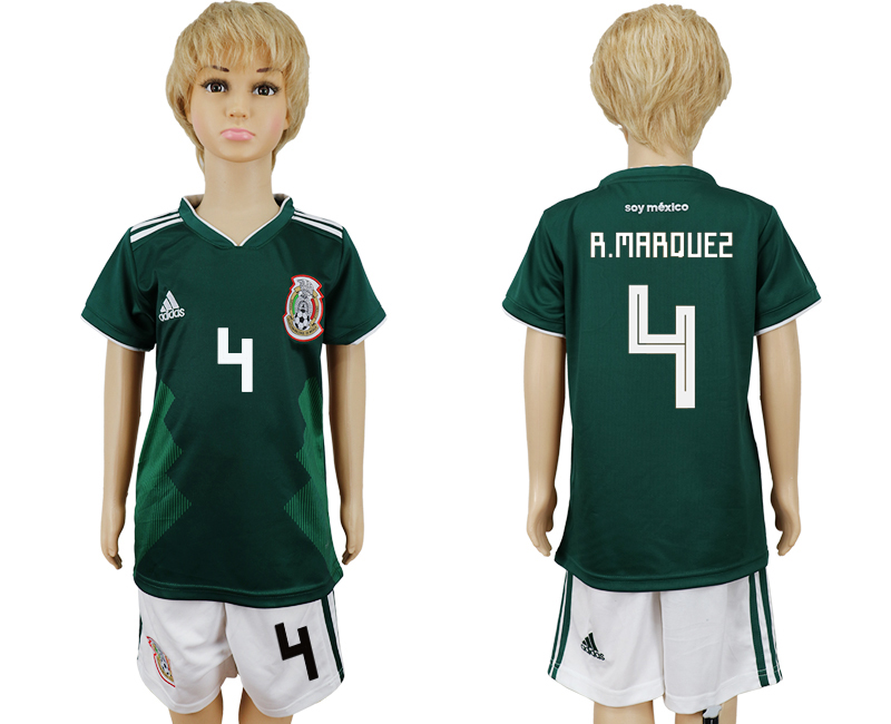 Mexico 4 R.MARQUEZ Home Youth 2018 FIFA World Cup Soccer Jersey