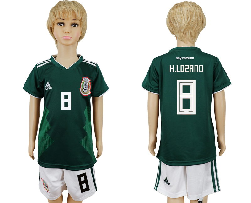 Mexico 8 H.LOZANO Home Youth 2018 FIFA World Cup Soccer Jersey