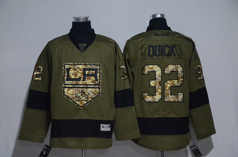 Kings 32 Jonathan Quick Olive Green Salute to Service Reebok Jersey