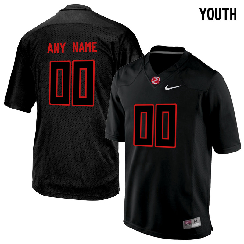Alabama Crimson Tide Black Youth Customized College Jersey