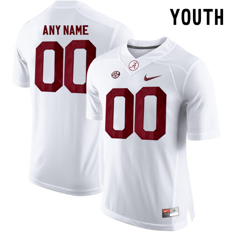 Alabama Crimson Tide White Youth Customized College Jersey