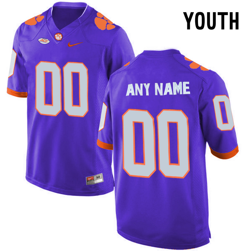 Clemson Tigers Purple Youth Customized College Jersey
