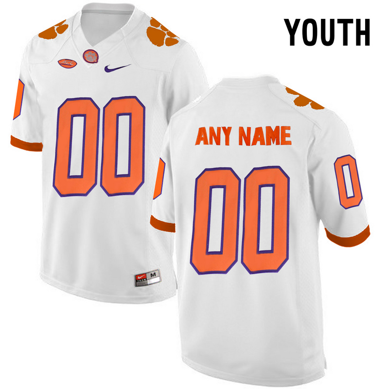 Clemson Tigers White Youth Customized College Jersey
