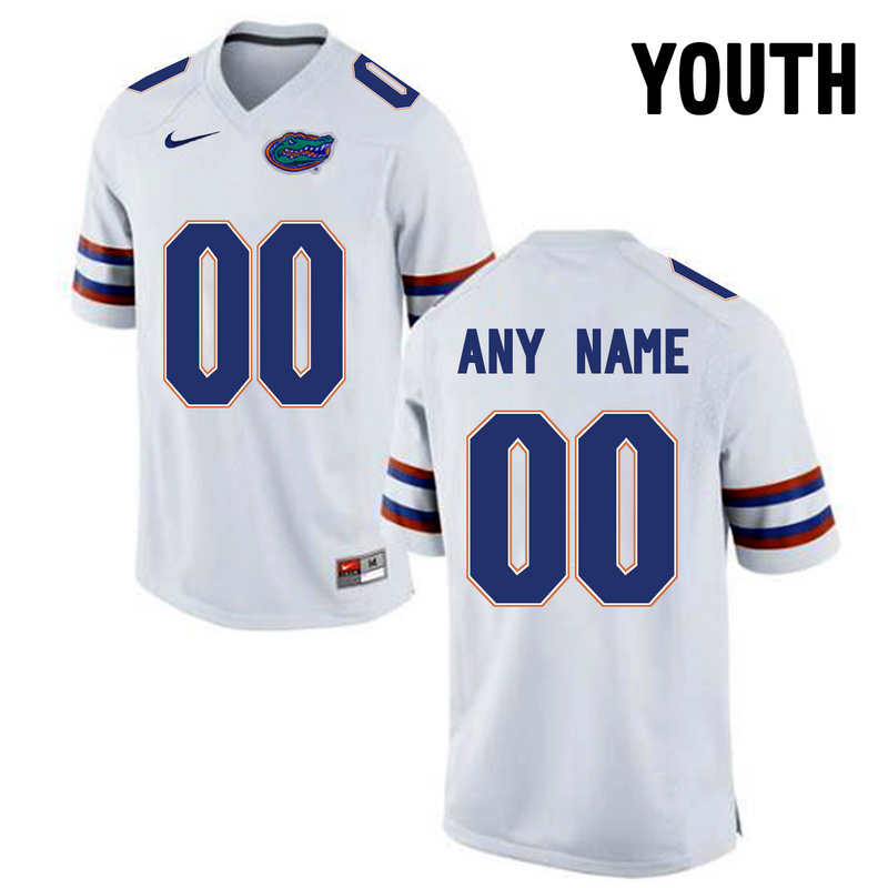Florida Gators White Youth Customized College Jersey