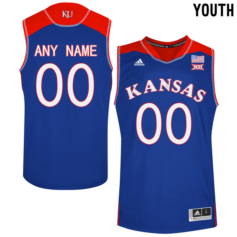 Kansas Jayhawks Blue Youth Customized College Basketball Jersey