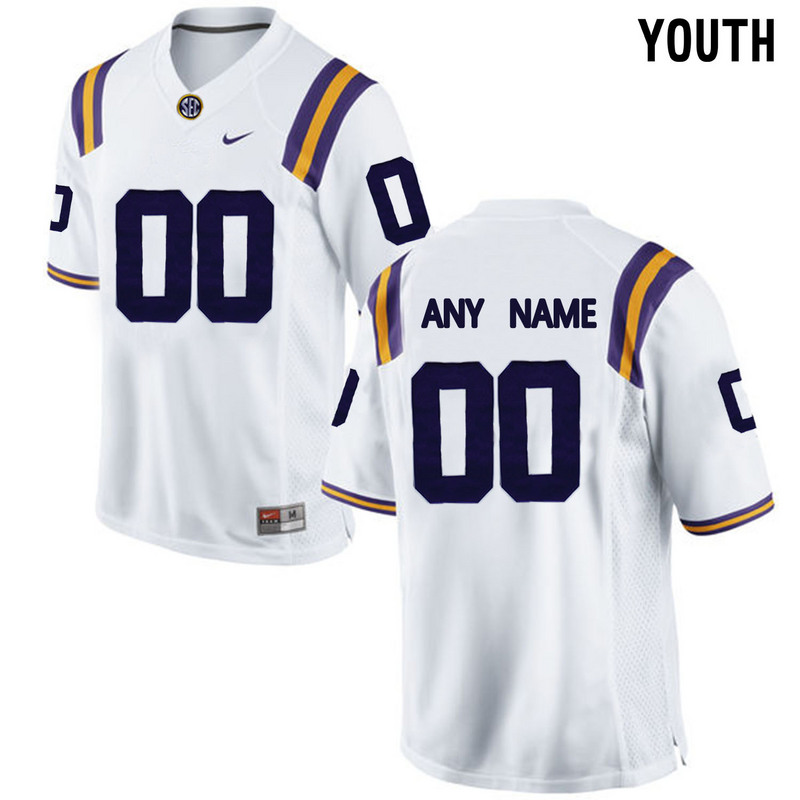 LSU Tigers White 2016 SEC Youth Customized College Jersey