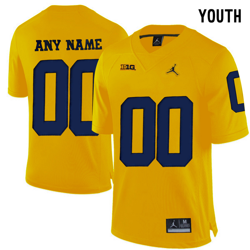 Michigan Wolverines Yellow Jordan Youth Customized College Jersey