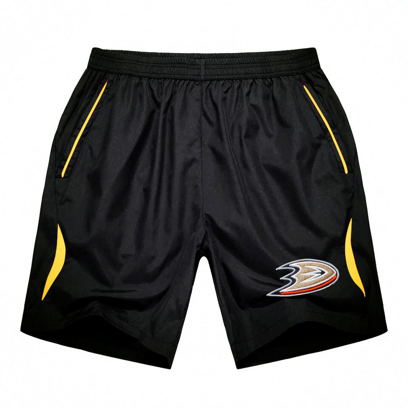Men's Anaheim Ducks Black Gold Stripe Hockey Shorts