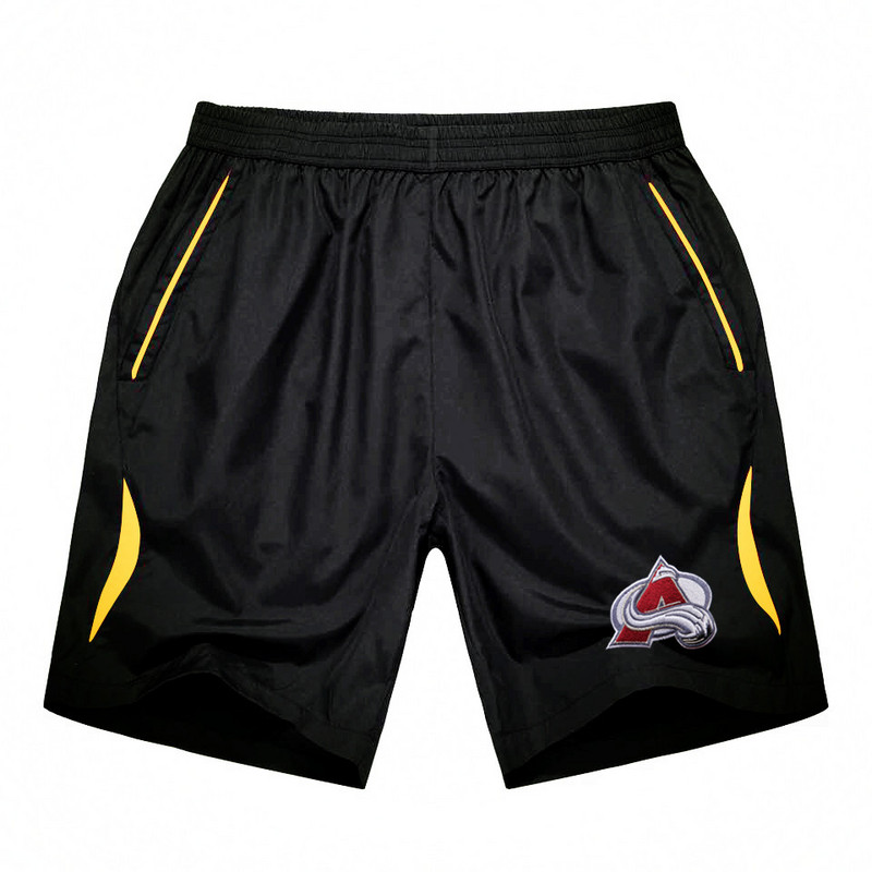 Men's Colorado Avalanche Black Gold Stripe Hockey Shorts