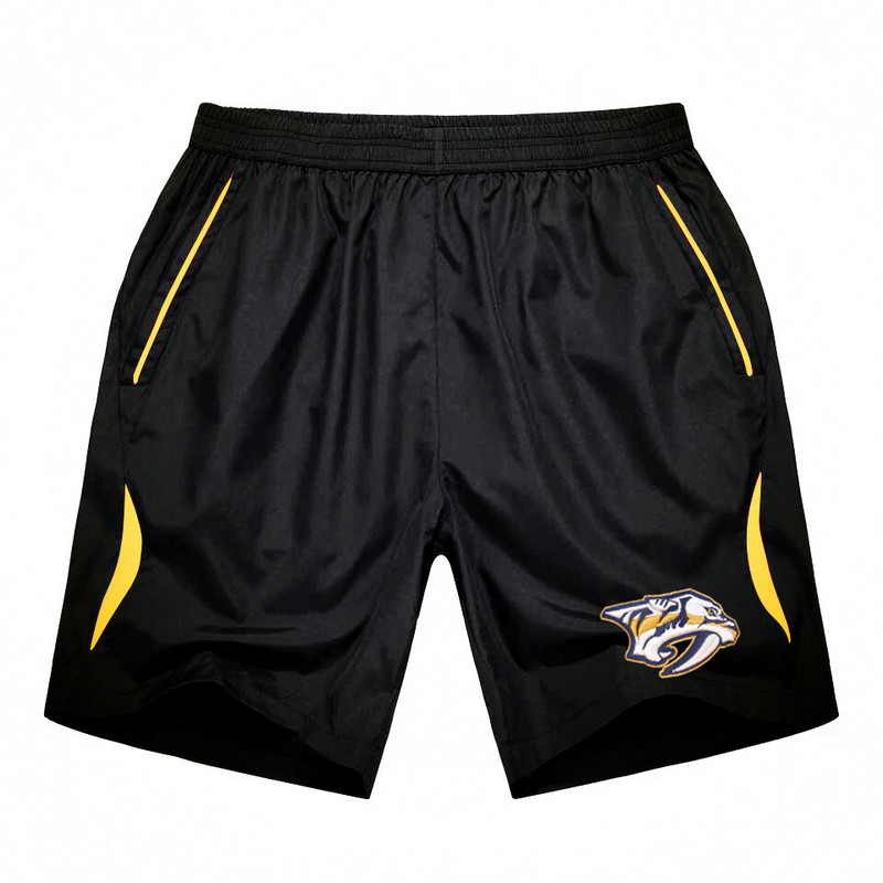 Men's Nashville Predators Black Gold Stripe Hockey Shorts