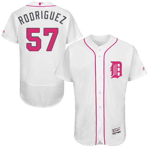Tigers 57 Francisco Rodriguez White Mother's Day Flexbase Jersey