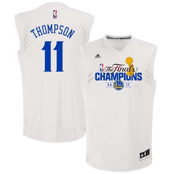 Warriors 11 Klay Thompson White 2017 NBA Champions Replica Jersey