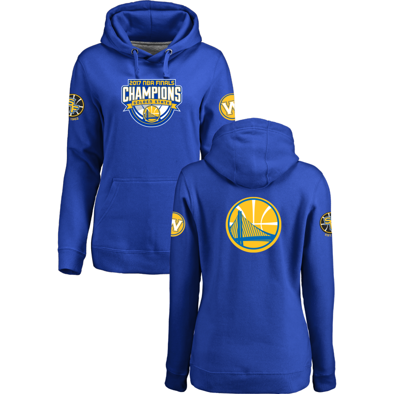 Golden State Warriors 2017 NBA Champions Royal Women's Pullover Hoodie2
