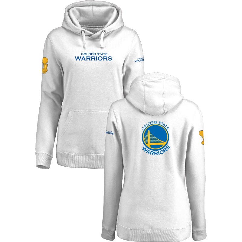 Golden State Warriors 2017 NBA Champions White Women's Pullover Hoodie2