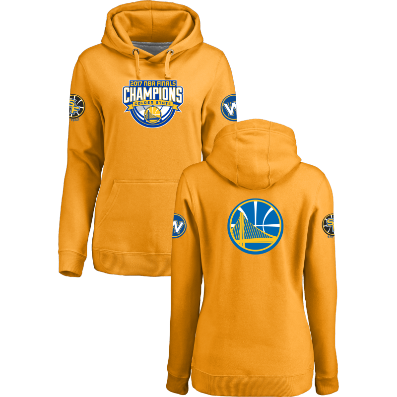 Golden State Warriors 2017 NBA Champions Yellow Women's Pullover Hoodie2