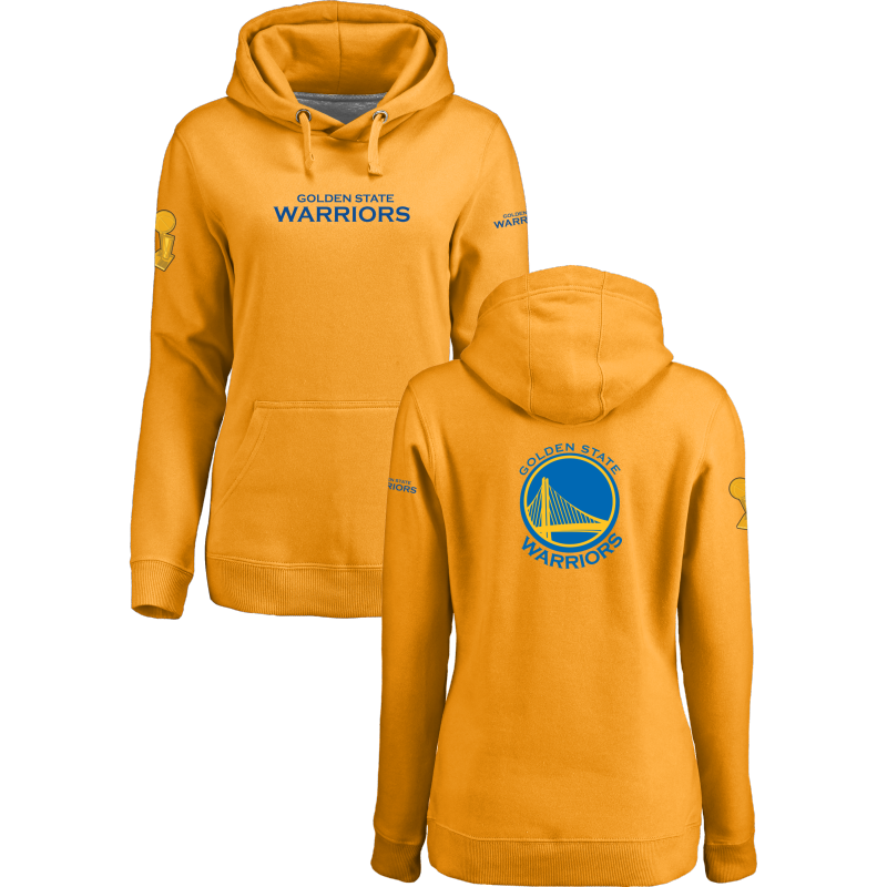 Golden State Warriors 2017 NBA Champions Yellow Women's Pullover Hoodie3