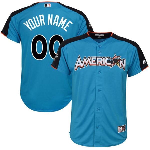 Youth American League Majestic Blue 2017 MLB All Star Game Personalized Home Run Derby Jersey