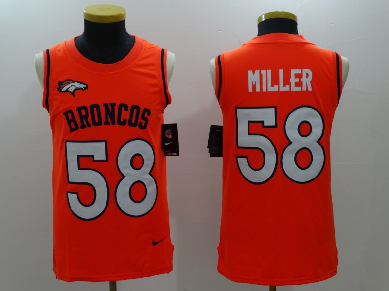 Nike Broncos 58 Von Miller Orange Color Rush Name & Number Tank Top