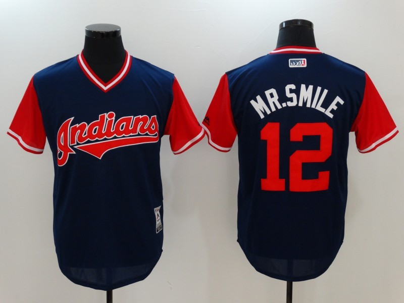Indians 12 Francisco Lindor Mr. Smile Majestic Navy 2017 Players Weekend Team Jersey