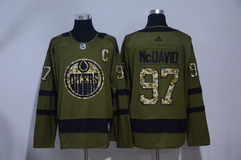 Oilers 97 Connor McDavid Olive Green Adidas Jersey