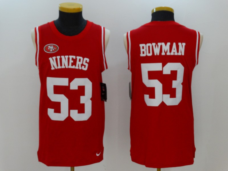 Nike 49ers 53 NaVorro Bowman Red Color Rush Men's Tank Top