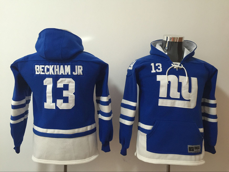 New York Giants 13 Odell Beckham Jr Blue Youth All Stitched Hooded Sweatshirt