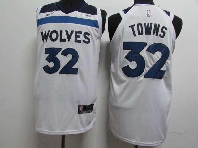 Timberwolves 32 Karl-Anthony Towns White Nike Authentic Jersey