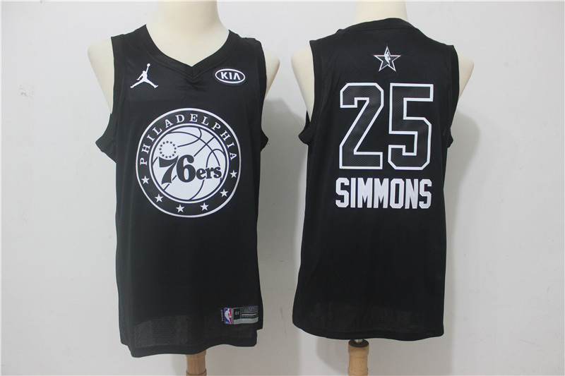 76ers 25 Ben Simmons Black 2018 All-Star Game Swingman Jersey