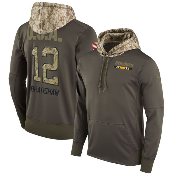 Nike Steelers 12 Terry Bradshaw Olive Salute To Service Pullover Hoodie