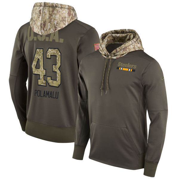 Nike Steelers 43 Troy Polamalu Olive Salute To Service Pullover Hoodie