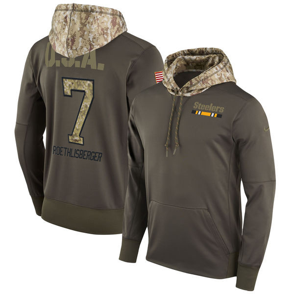Nike Steelers 7 Ben Roethlisberger Olive Salute To Service Pullover Hoodie