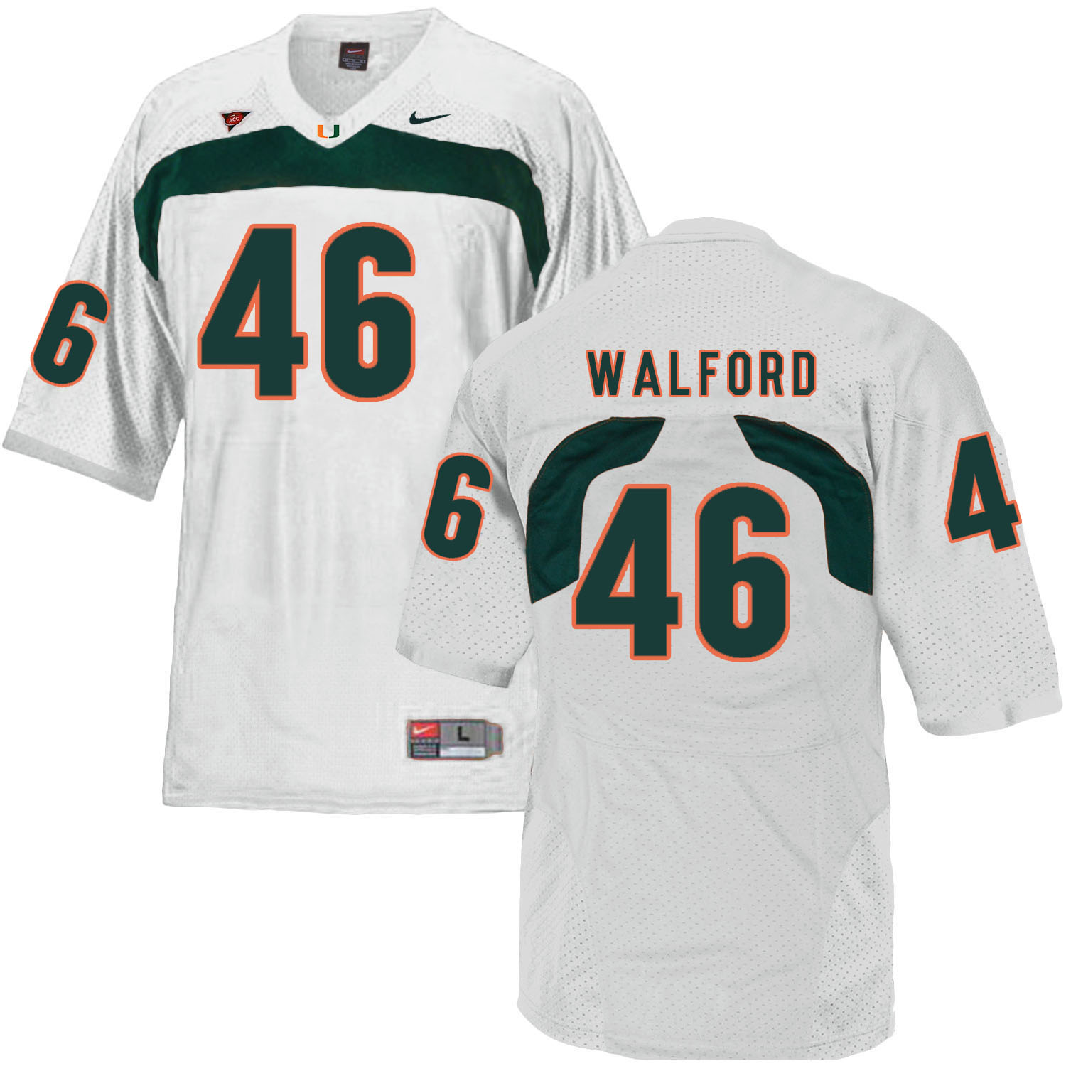 Miami Hurricanes 46 Clive Walford White College Football Jersey