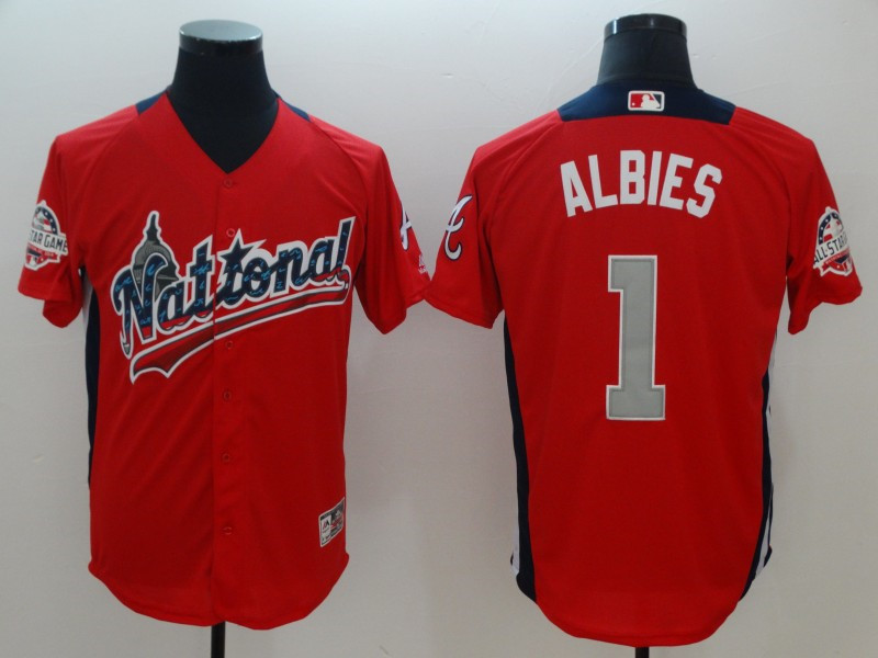 National League 1 Ozzie Albies Red 2018 MLB All-Star Game Home Run Derby Jersey
