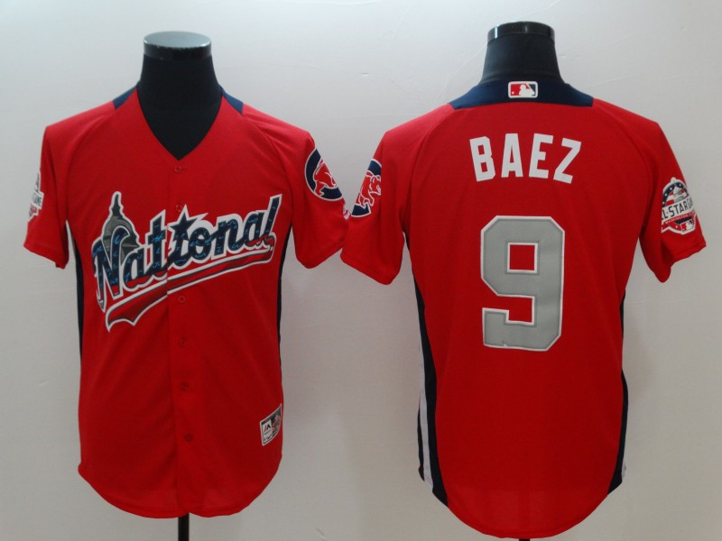 National League 9 Javier Baez Red 2018 MLB All-Star Game Home Run Derby Jersey