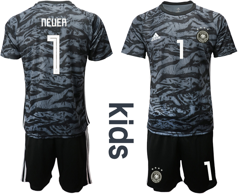 2019-20 Germany 1 NEUER Black Goalkeeper Youth Soccer Jersey